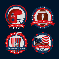 set of traditional celebration american independence day vector illustration
