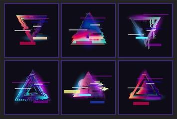 Glitched Triangle Frame Design set. Distorted Glitch Style Modern Background. Glow Design for Graphic Design - Banner, Poster, Flyer, Brochure, Card. Vector Illustration.