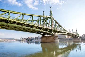 View on the famous Liberty bridge on Danube river during the morning light in Budapest, Hungary