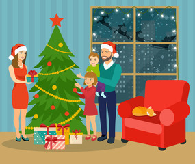 Christmas interior. Family standing near christmas tree and decorating. Vector flat illustration