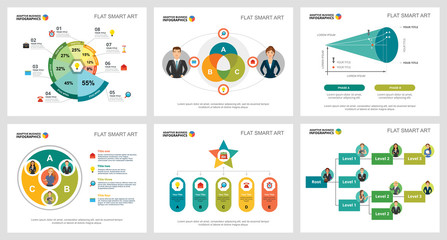 Colorful management or analytics concept infographic charts set. Business design elements for presentation slide templates. For corporate report, advertising, leaflet layout and poster design.