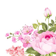 Blooming rose garland on the bottom of invitation card isolated over white background and text place. Congratulation text card with empty space. Vector illustration.