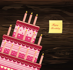 Festive big cake. Happy Birthday.  Empty Yellow sheet of paper for notes. Sticker. Greeting card or invitation for a holiday. Vector on wooden background.