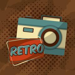 retro vintage photo camera halftone style vector illustration