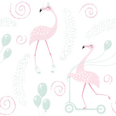 Flamingo birthday seamless pattern