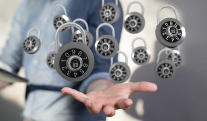 padlock digital in hand