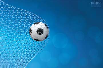Soccer football ball in goal and soccer net with light blurred bokeh background. Vector illustration.