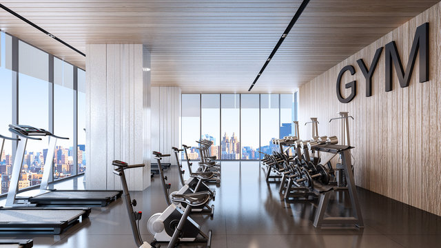 Large fitness center with sky city view , 3d rendering