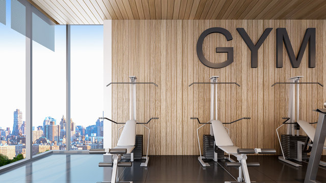 Gym equipments are placed in fitness center