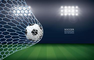 Soccer football ball in soccer goal with soccer field stadium background. Vector.