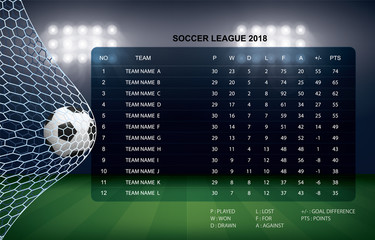 Soccer table with background of sport stadium. Vector.