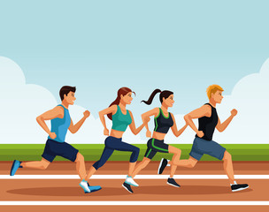 Fitness people running on track cartoons vector illustration graphic design