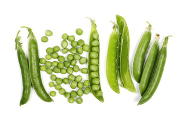Fresh green peas with pods isolated on white background, top view