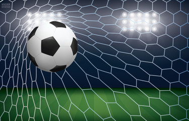 Soccer football ball in soccer goal with soccer field stadium background. Vector.