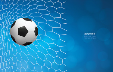Soccer football ball in goal and soccer net with light blurred bokeh background for football sport. Vector.