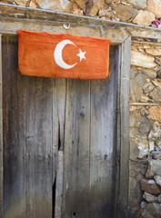 Old door with Turkish flag