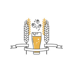 Beer glass, hops and wheat. Linear icon. Sign, label, logo with ribbon for the brewery, beer restaurant, pub, bar, menu, website. Vector illustration.