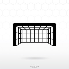 Soccer goal and net icon. Soccer football sport sign and symbol for template design. Vector.