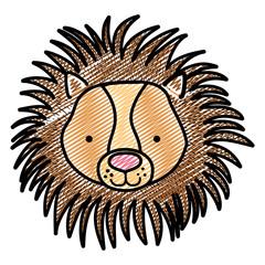 doodle cute male lion head wild animal