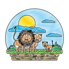 doodle cute lion family wild animal in the landscape