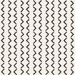 Hand drawn seamless pattern. Abstract geometric shapes background in black and white. Vector style grungy texture.