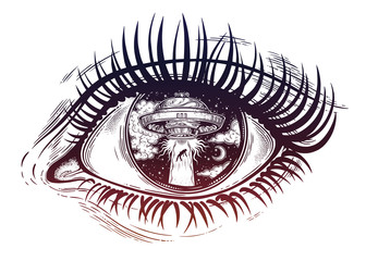 All seeing eye with fantastic Alien Spaceship. UFO abduction of a human with flying saucer.