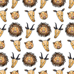 doodle cute head wild animals background