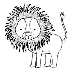 grunge cute male lion wild animal