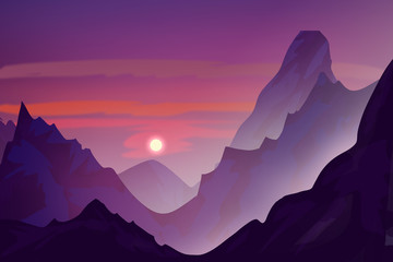 Photo sur Plexiglas Violet Snowy mountains in the evening. Sunset. Digital drawing.
