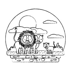 grunge cute lion family wild animal in the landscape