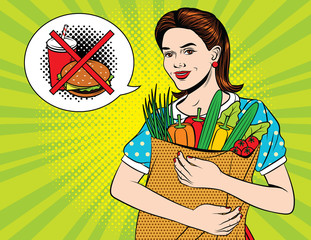 Vector colorful pop art style illustration of a young beautiful lady with full paper bag of vegetables and forbedden sign of junk food. Happy beautiful woman doing health grocery shopping