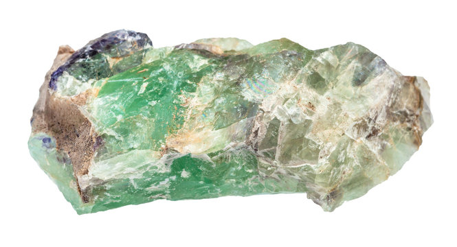 rough green Beryl crystals isolated