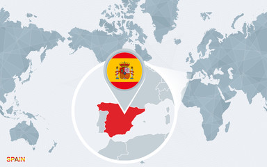 World map centered on America with magnified Spain.