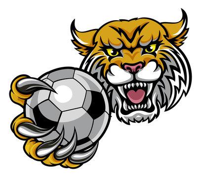 Wildcat Holding Soccer Football Ball Mascot