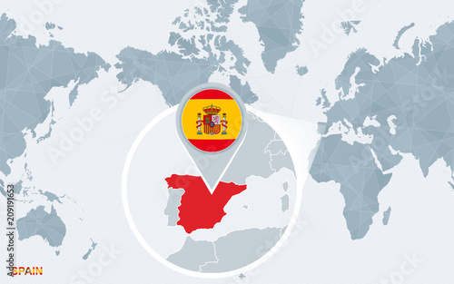 World Map Of Spain.World Map Centered On America With Magnified Spain Stock Image And