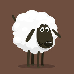 Cute cartoon sheep mascot character. Vector illustration of fluffy sheep feeding. Isolated