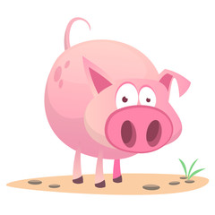 Vector illustration of cute pig cartoon isolated on white background. Design forstickers, print or children book