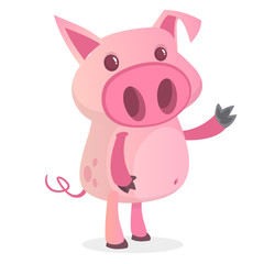 Happy cartoon pig presenting. Farm animals. Illustration of a smiling piggy isolated on white