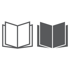 Open book line and glyph icon, school and education, knowledge sign vector graphics, a linear pattern on a white background, eps 10.