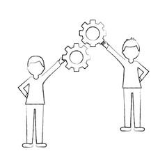 businesspeople holding gears together teamwork vector illustration sketch
