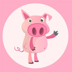 Happy cartoon pig presenting. Farm animals. Vector illustration of a smiling piggy isolated on white