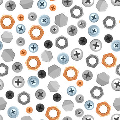Seamless pattern with bolts nuts nails.