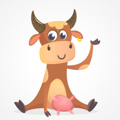 Funny cartoon cow character isolated on white background. Farm animals. Vector illustration