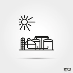 Biogas digester power plant vector icon