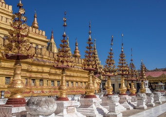 Myanmar, Mandalay area, Bagan archaeological site, pagoda Swhezigon
