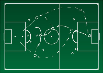 Soccer or football game strategy plan. Realistic blackboard. Vector illustration. Sport infographics element.
