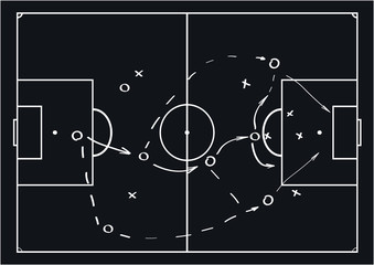 Soccer or football game strategy plan. Vector illustration. Sport infographics element.