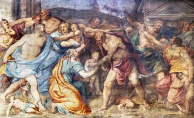Fototapete - PARMA, ITALY - APRIL 16, 2018: The freso of Masacre of Inocents in church Chiesa di Santa Croce by Giovanni Maria Conti della Camera (1614 - 1670).