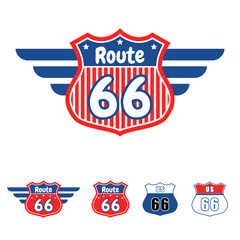 Route 66 red and blue vector icon.