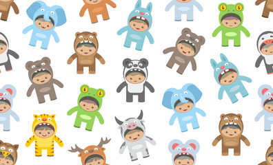 Seamless pattern with kids in Animals costumes, flat style. isolated on white background